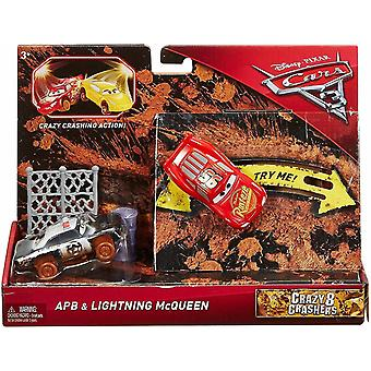 2-Pack Cars 3 Cars Crazy 8 Crashers Flash McQueen & APB Vehicle