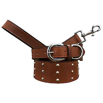 Bradley crompton genuine leather matching pair dog collar and lead set bcdc7tanbrown