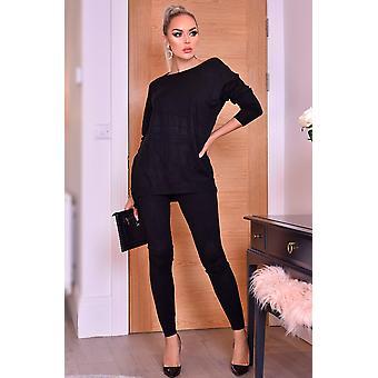 Pixie Grey Two Piece Loungewear Set - Black