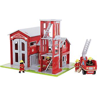 Bigjigs Toys Wooden Heritage Playset Fire Emergency Station and Engine