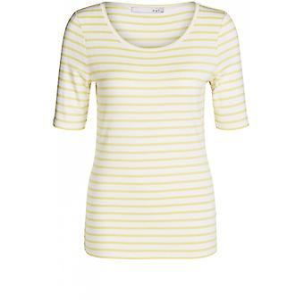 Oui White Yellow Striped Jersey T-Shirt