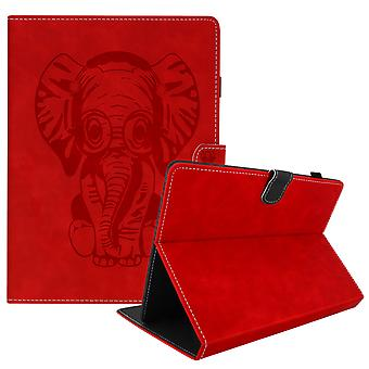Elephant Flip Folio Case with Card Slots & Kickstand for 7 inch Tablet- Red