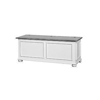 Cassapanca Acanto Weiße Farbe, Holzgrau, L120xP42xA50 cm