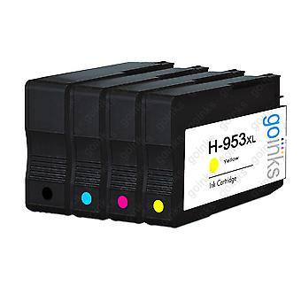 1 Zestaw 4 zdobędliwych atramentów go do wymiany wkładów atramentowych hp 953 (4 atramenty) - czarny, cyjan, purpurowy, żółty kompatybilny / bez OEM dla drukarek HP Officejet