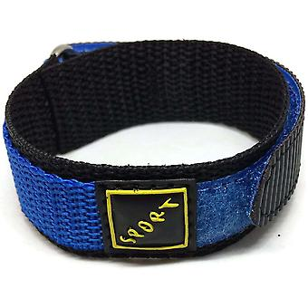 Hook and loop wrap around watch strap blue with stainless steel ring 14mm and 18mm