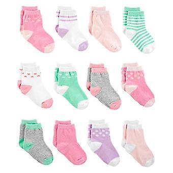 Einfache Freuden von Carter's Girls' 12-Pack Socken, Rosa/Lila/Mint, Größe 0-3 Monate