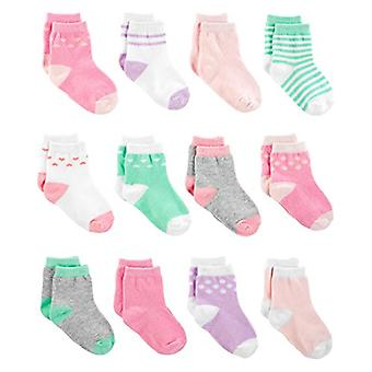 Simple Joys by Carter's Girls' 12-Pack Socks, Pink/Purple/Mint, 0-3 Months
