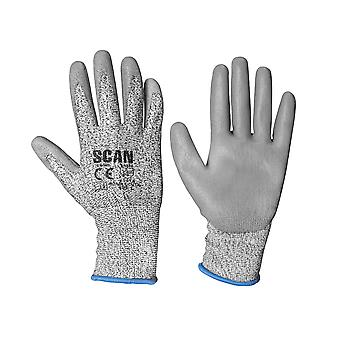 Scan Grey PU Coated Cut 3 Gloves - Large (Size 9)