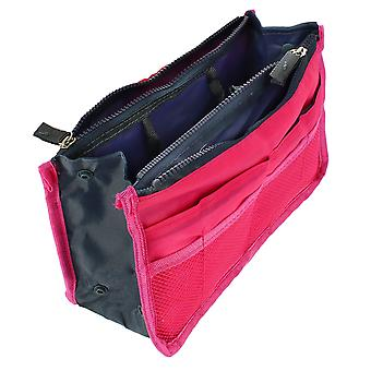 Retractable Multi-Compartment Storage Bag Pink