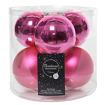 6 8cm Flashing Pink Glass Christmas Tree Bauble Decorations