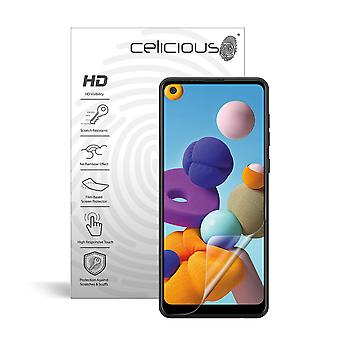 Celicious Vivid Invisible Glossy HD Screen Protector Film Compatible with Samsung Galaxy A21 [Pack of 2]