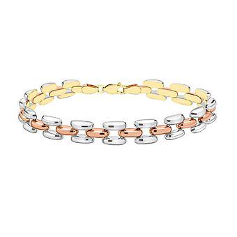 9ct 3 Colour Gold Link Chain Bracelet for Women Size 7.5