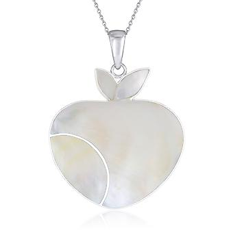 ADEN 925 Sterling Silver White Parel Apple Hanger Ketting (id 2962)