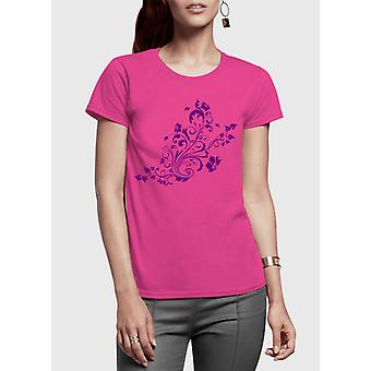 Swirl purple half sleeves women t-shirt