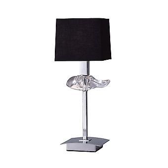 Lâmpada de mesa 1 Luz E14, Cromo Polido com Sombra Preta