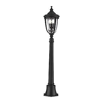 3 Light Medium Outdoor Bollard Light Black IP44, E14