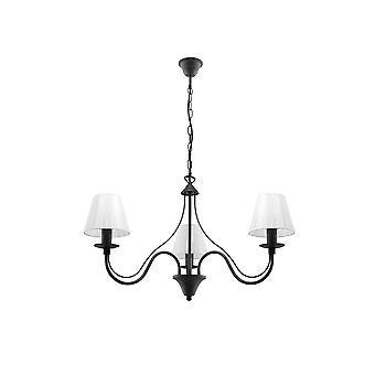 3 Light Multi Arm Chandelier Noir