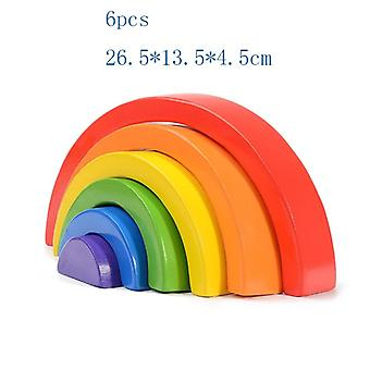 High-quality Large Rainbow Stacker Wooden Toys For Kids - Creative Rainbow Building Blocks Montessori Educational Toy Children