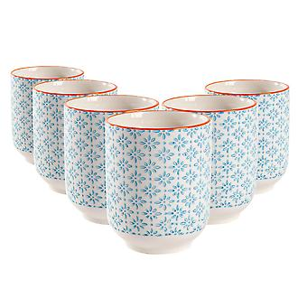 Nicola Spring Set of 6 käsin painetut posliinimukit - Japanilainen tyyli tulostaa - 280ml - Sininen