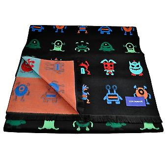 Ties Planet Lupi Romani Black With Colourful Alien Monsters Patterned Scarf