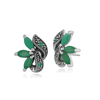 Art Nouveau Style Marquise Emerald & Marcasite Leaf Stud Earrings in 925 Sterling Silver 214E424003925