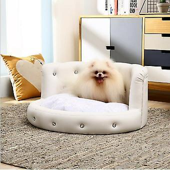 Luxury Dream Diamante Dog Bed White