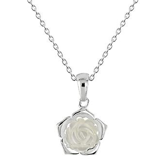 Dew Sterling Silver Mother Of Pearl White Carnation Pendant 90801MP028
