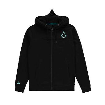 Assassins Creed Valhalla Hoodie Shield and Hammer new Official Mens Black Zipped