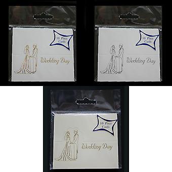 Bröllopsdag dekorerade Placecards (Pack av 10)