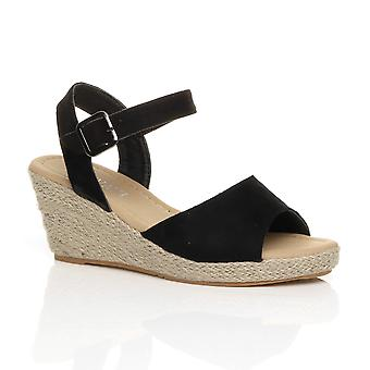 Ajvani kvinner midt hæl sommer spenne espadrille plattform kile sandaler