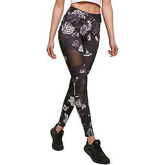 Urban Classics Ladies - TECH MESH Flower Leggings