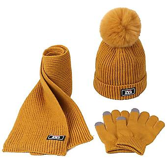 Children Winter Warm Knitted Beanie Cap, Scarf Gloves Set