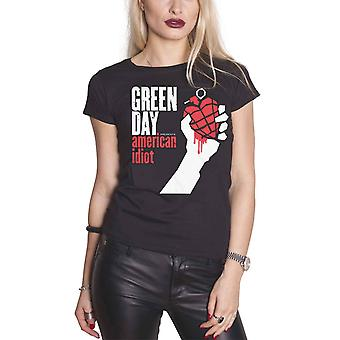 Green Day T Shirt American Idiot band logo new Official Womens Skinny Fit Black