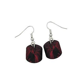 Hook Earrings Slanted Bead Red Metallic