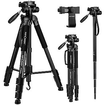 "70""/177cm Travel Tripod Outdoor Compact Aluminum Video Camera Tripod Monopod"