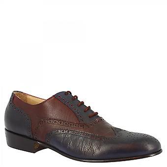 Leonardo Scarpe Donna's scarpe oxford a punta alare fatte a mano in pelle blu / bordeaux