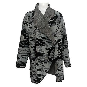 Cuddl Duds Women's Sweater Reversible Long Sleeve Cardi Wrap Gray A369302
