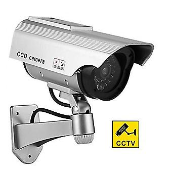 Bw solar power fake outdoor dummy security home cctv camera led light waterproof 1pc