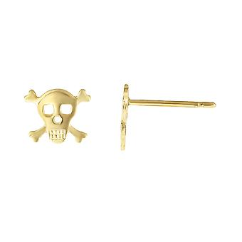 14k Boucles d'oreilles 14k Yellow Gold Pirate Scull Stud