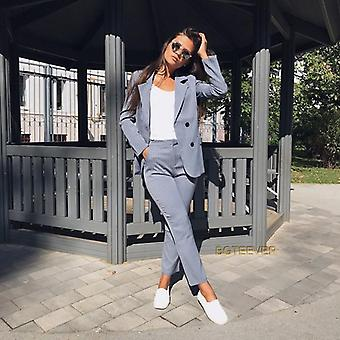 Double Breasted Striped Blazer Jacket & Zipper Trousers Suit