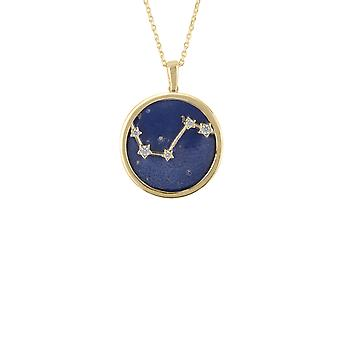 Zodiac Blue Lapis Gemstone Star Sign Pendant Necklace Gold Aries