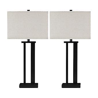 Lampe de table en métal de cadre avec l'ombre dure, ensemble de 2, outre du blanc et du bronze
