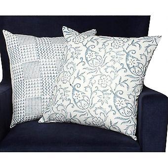 Oreiller en coton inspiré de la nature 18 x 18 avec des détails géométriques, ensemble de 2, bleu et blanc