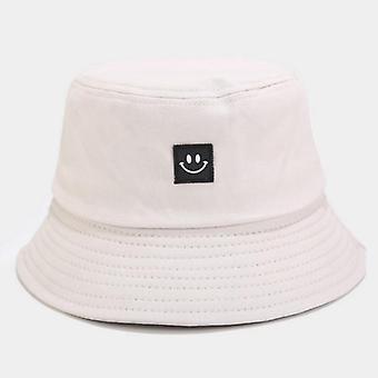 Smiley Face Women Bucket Hat, Solid Color Cotton Sun Cap