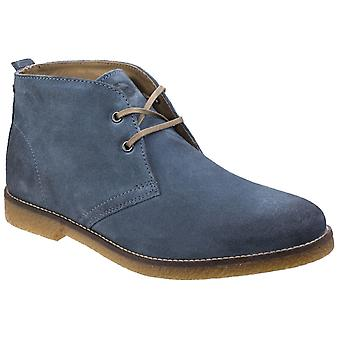 Base Perry Mens Leather Desert Boots Blue UK Size