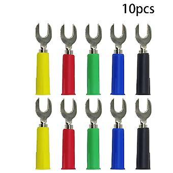 P4002 10pcs 5color insertar tipo u tipo y tipo y tipo y insertar inserción de soldadura de arpón 4mm banana plug spade plugs 4mm banana to 6mm
