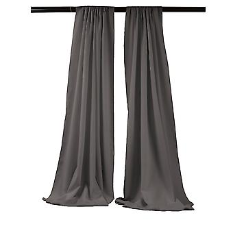 La Linen Pack-2 Polyester Poplin Backdrop Drape 96-Inch Wide By 58-Inch High, Charcoal
