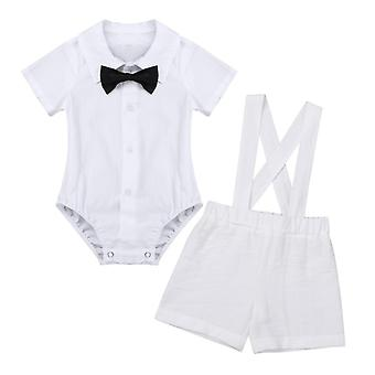 Boys Baptism Outfits with Bow Tie, Suspensioner Linen Shorts 1Set 3Pcs