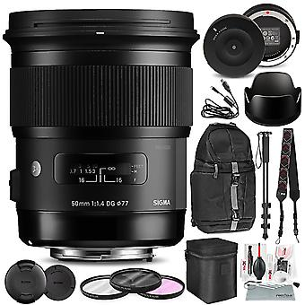 Sigma 50mm f/1.4 dg hsm art lens for nikon f with sigma usb dock, deluxe xpix camera cleaning kit, accessory bundle