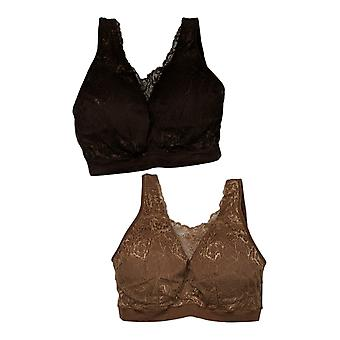 Breezies Bra 3X Set of 2 Lace Seamless Cami Brown A391644
